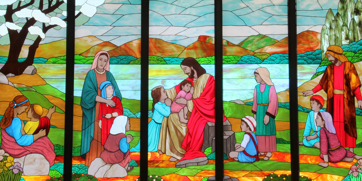 Jesus and the Children Stained Glass